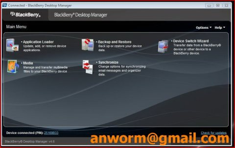 Blackberry desktop manager freezes updating